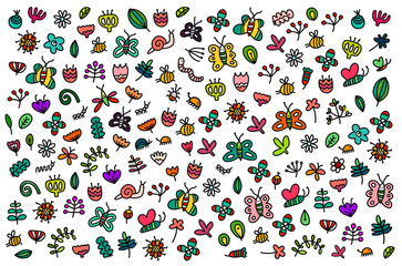 Bright summer colorful illustration hand drawn in cartoon style