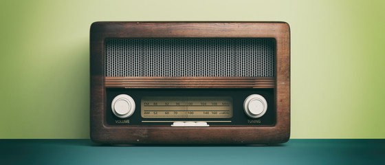 Radio old fashioned Radio old fashioned on green pastel wall background. 3d illustration
