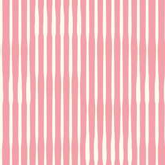 Vertical hand drawn organic stripes with artistic texture effect. Seamless vector pattern on pink background. Perfect for stationery, textiles, home decor, fabric, giftwrapping and packaging