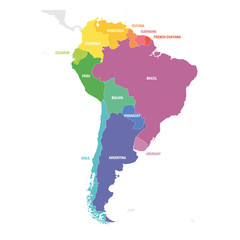 Fototapete - South America Region. Colorful map of countries in southern America. Vector illustration