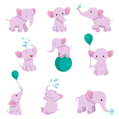 Collection of Lovely Baby Elephant Pink Animal Character in Different Poses Vector Illustration