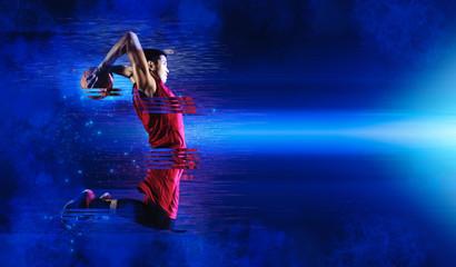 Basketball player art. Creative image template flyers, banners