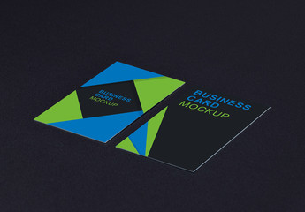 Two Business Cards on a Dark Background Mockup