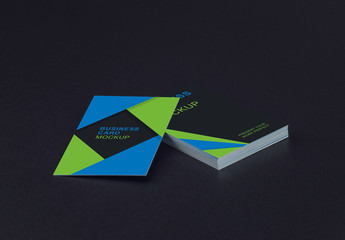 Stack of Business Cards on a Dark Background Mockup