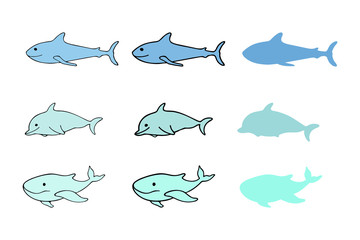 Set of various sea animal icons: whale, dolphin, shark isolated on white. Collection of smiling marine, sea, aquatic creatures of ocean. Stickers, logo, silhouettes. Vector illustration