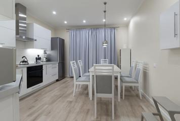 Interior. Kitchen modern, white, gray, beige color