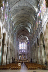 Interior view of the Saint Denis Basilica, a royal necropolis, in the city of Saint-Denis