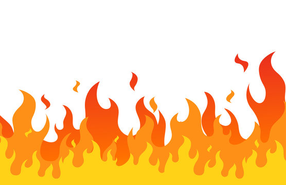 Fire flame flat cartoon style. vector illustration.Print