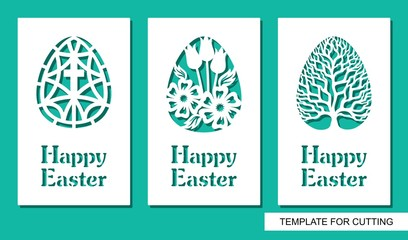 Set of greeting card with eggs and text Happy Easter. Floral pattern and plant theme. White object on a green background. Template for laser cutting, wood carving, paper cut or printing.