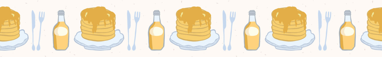Cute vector pancake day breakfast illustration. Seamless repeating border. Hand drawn stack of delicious pancakes with maple syrup bottle, kawaii knife and fork. Food restaurant menu banner ribbon.