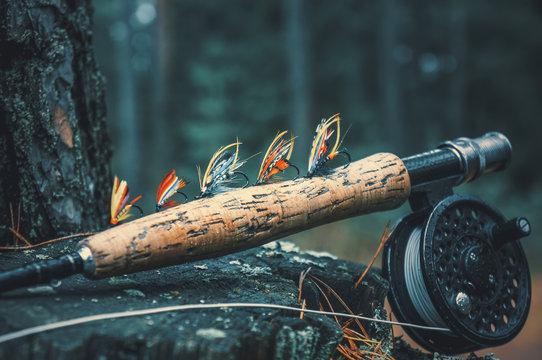 Flies for salmon fishing. Fly fishing gear.