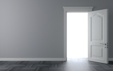 Open classic white door on the wall