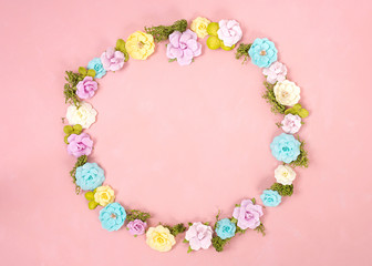 A wreath of multicolored paper flowers on the Living Coral background . Valentine day. love concept. Spring mood. Space for text. Wide banner - Image.