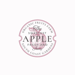 Sweetest Apple Farm Badge or Logo Template. Hand Drawn Apple with Leaf Sketch with Retro Typography and Borders. Vintage Premium Emblem.
