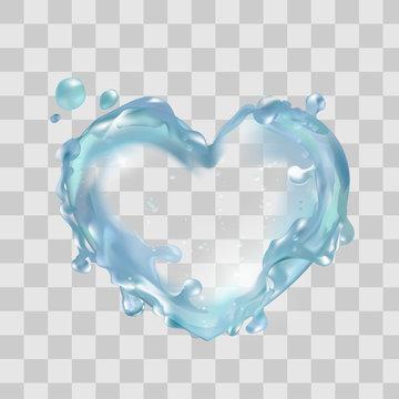 Water heart in vector. Moisturizing clear skin, aqua splash, liquid, love health nature.