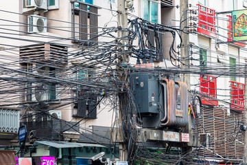 cable tangle in the streets of Bangkok, Thailand, Asia