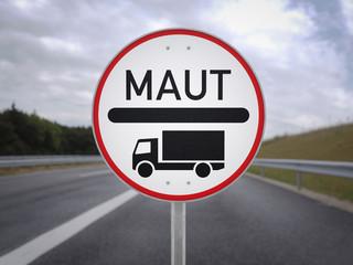 LKW Maut Schild Autobahn 3d illustration
