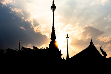 silhouette of a thai temple at sunset, Bangkok, Thailand, Asia