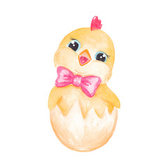 Cute little chiken character with pink bow Easter Watercolor illustration