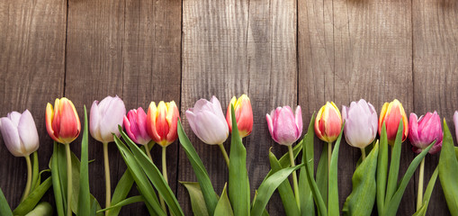 bouquet of tulips of spring flowers on old wooden board on holiday of Easter