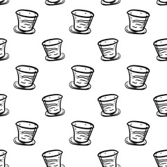 Handdrawn seamless pattern glass doodle icon. Hand drawn black sketch. Sign symbol. Decoration element. White background. Isolated. Flat design. Vector illustration