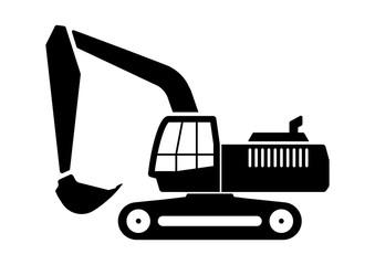 gz321 GrafikZeichnung - siwb543 SignIsolatedWhiteBackground siwb - english - excavator / construction site / crawler excavator - simple template - DIN A2, A3, A4 - g7180