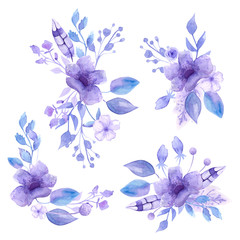 Watercolor compositions and bouquets of watercolor tender lilac flowers. For registration of cards, notebooks, invitation. Isolates.