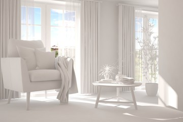 Stylish minimalist room with armchair in white color. Scandinavian interior design. 3D illustration