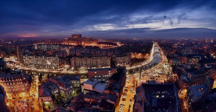Bucharest skyline panoramic view Dambovita river  and parliament house