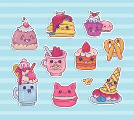 Set of kawaii dessert cartoon vector icons