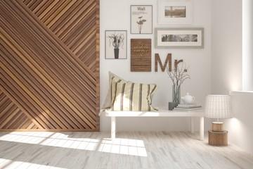 White stylish minimalist room with home decor. Scandinavian interior design. 3D illustration