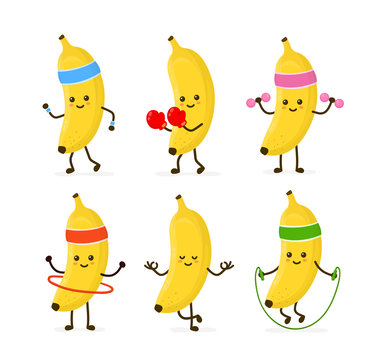 Cute smiling happy strong banana