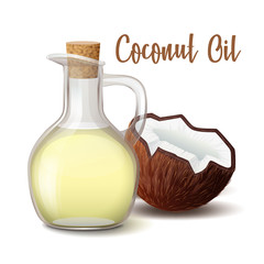 glass jug with coconut oil closed wooden stopper with coconut vector illustration isolated on white background.