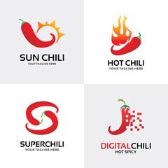 Chili Logo Set Design Template Inspiration