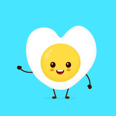 Happy cute smiling funny kawaii fried egg