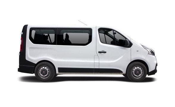 White mini bus