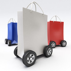 Red, blue and white shopping bags on wheels