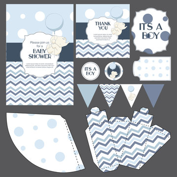 """Baby shower templates set cute elephant, invitation, thank you card, banners, stickers, gift box decorations classic design in tender colors """"it's a boy"""""""