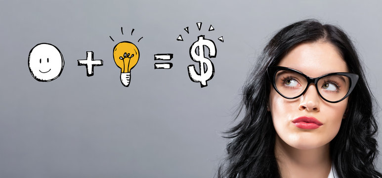 Good idea equals money with young businesswoman in a thoughtful face
