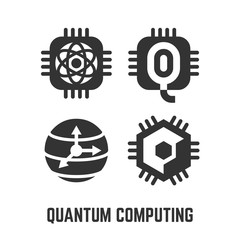 Quantum computing black glyph silhouette icon set with future intelligence computer qubits processor chip and sphere symbol.