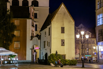 Wroclaw, Poland. Historical old town in the night.