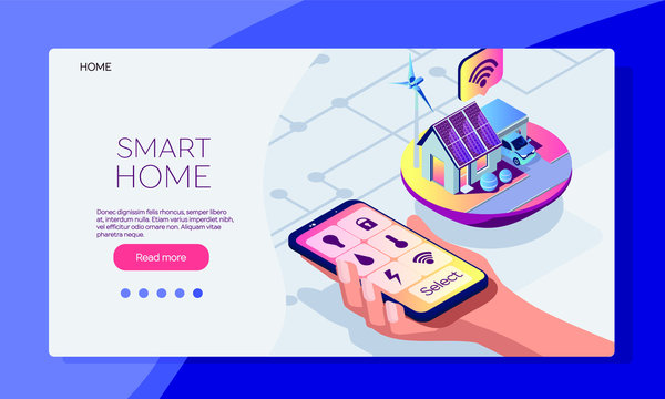 Smart house mobile app. Smart house service isometric template.  Icons in mobile phone. Smart phone in human hand. Vector flat illustration on a white background. Alternative energy sourses
