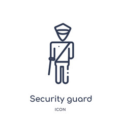 security guard icon from museum outline collection. Thin line security guard icon isolated on white background.