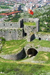 Rozafa Castle with the city of Shkoder in the background in Albania.