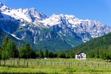 Landscape of Valbona Village in Albania.