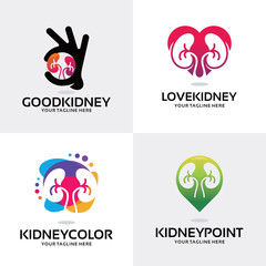 Kidney Health Care Logo Set Design Template Collection