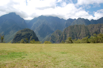 View of the mountains from Machu Picchu - Peru