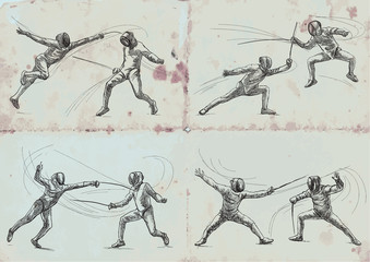 Fencing, collection - An hand drawn vector illustration. Freehand sketching.