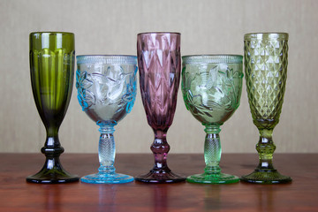five glasses for alcoholic beverages