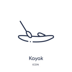 kayak icon from nautical outline collection. Thin line kayak icon isolated on white background.